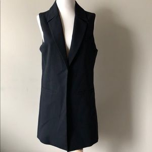 Katherine Barclay long black sleeveless vest small